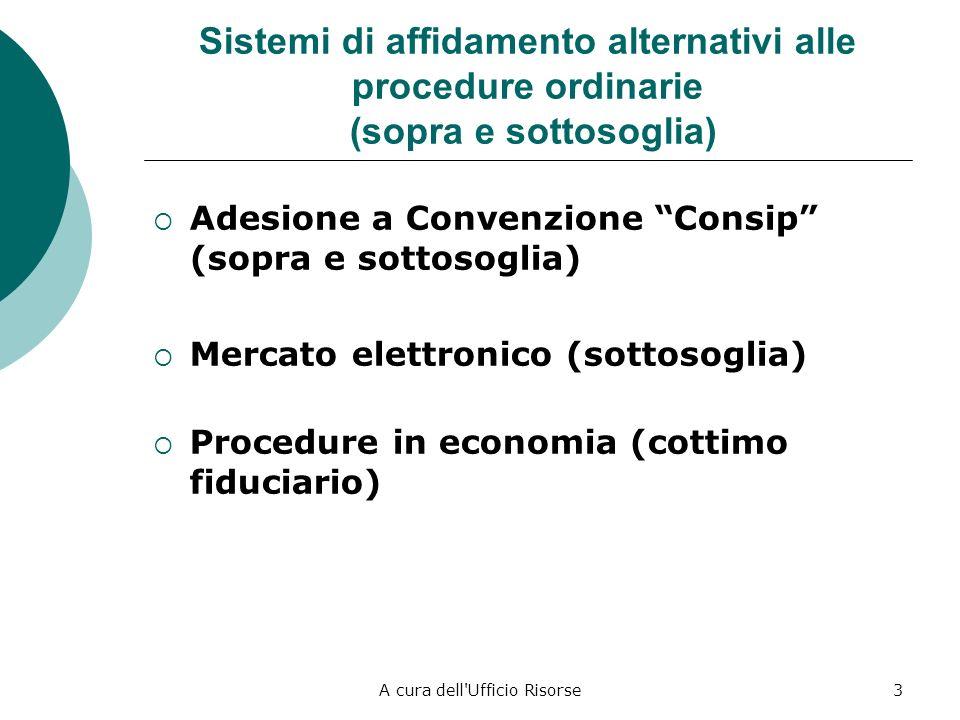 A cura dell Ufficio Risorse3 Sistemi di affidamento alternativi alle procedure ordinarie (sopra e sottosoglia) Adesione a Convenzione Consip (sopra e sottosoglia) Mercato elettronico (sottosoglia) Procedure in economia (cottimo fiduciario)