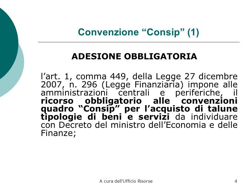 A cura dell'Ufficio Risorse3 Sistemi di affidamento alternativi alle procedure ordinarie (sopra e sottosoglia) Adesione a Convenzione Consip (sopra e