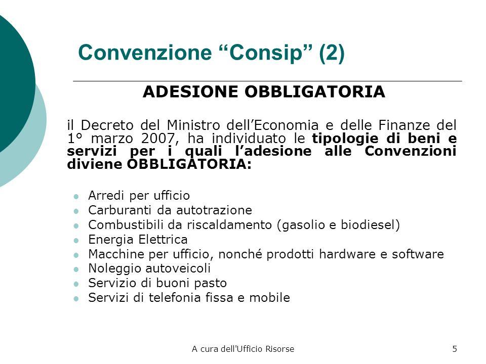A cura dell'Ufficio Risorse4 Convenzione Consip (1) ADESIONE OBBLIGATORIA lart. 1, comma 449, della Legge 27 dicembre 2007, n. 296 (Legge Finanziaria)
