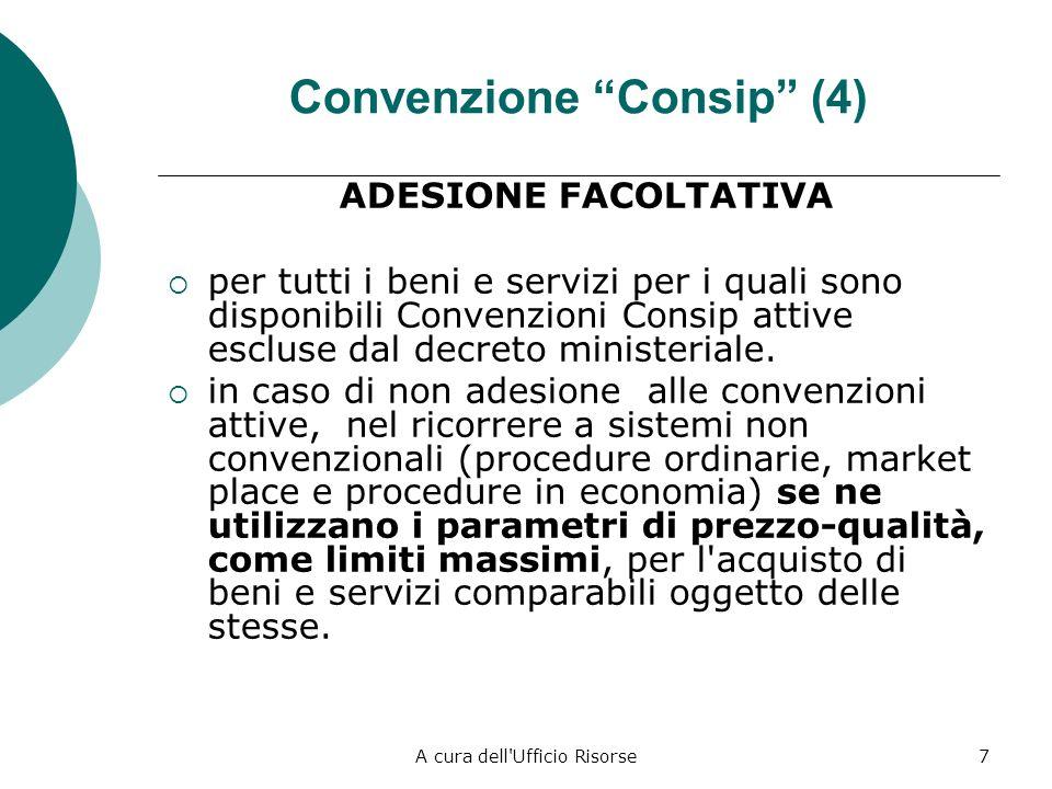 A cura dell Ufficio Risorse7 Convenzione Consip (4) ADESIONE FACOLTATIVA per tutti i beni e servizi per i quali sono disponibili Convenzioni Consip attive escluse dal decreto ministeriale.