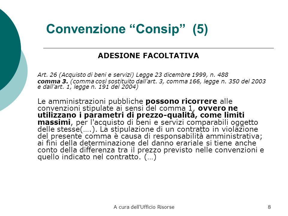A cura dell Ufficio Risorse8 Convenzione Consip (5) ADESIONE FACOLTATIVA Art.