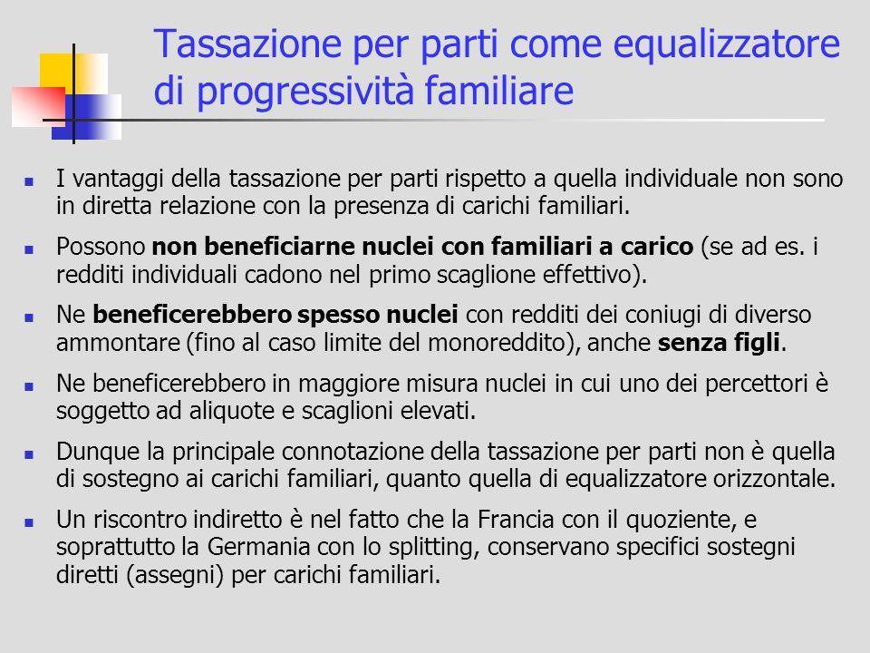 Tassazione per parti come equalizzatore di progressività familiare I vantaggi della tassazione per parti rispetto a quella individuale non sono in diretta relazione con la presenza di carichi familiari.