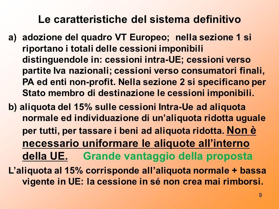 Le caratteristiche del sistema definitivo a)adozione del quadro VT Europeo; nella sezione 1 si riportano i totali delle cessioni imponibili distinguendole in: cessioni intra-UE; cessioni verso partite Iva nazionali; cessioni verso consumatori finali, PA ed enti non-profit.