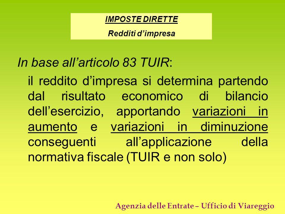Agenzia delle Entrate – Ufficio di Viareggio In base allarticolo 83 TUIR: il reddito dimpresa si determina partendo dal risultato economico di bilanci
