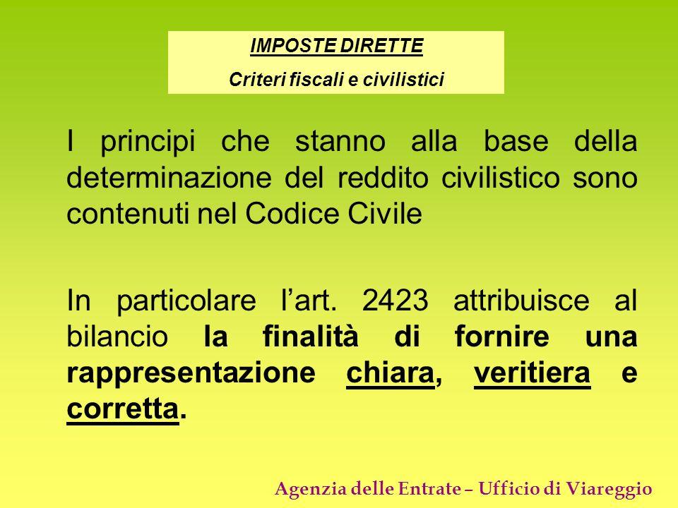 Agenzia delle Entrate – Ufficio di Viareggio I principi che stanno alla base della determinazione del reddito civilistico sono contenuti nel Codice Ci