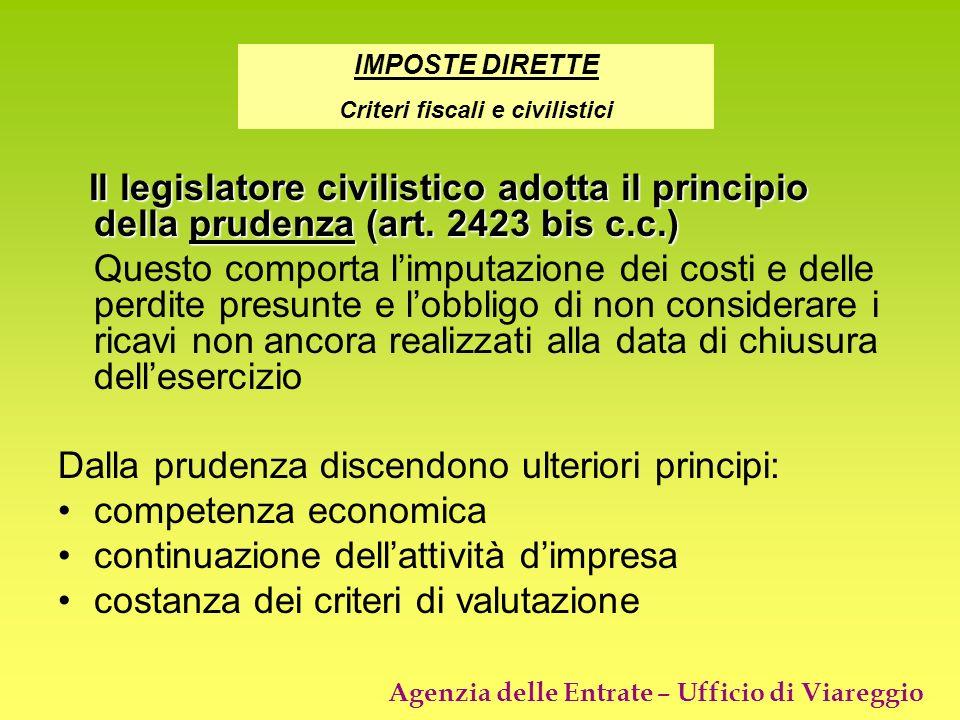 Agenzia delle Entrate – Ufficio di Viareggio Il legislatore civilistico adotta il principio della prudenza (art. 2423 bis c.c.) Il legislatore civilis