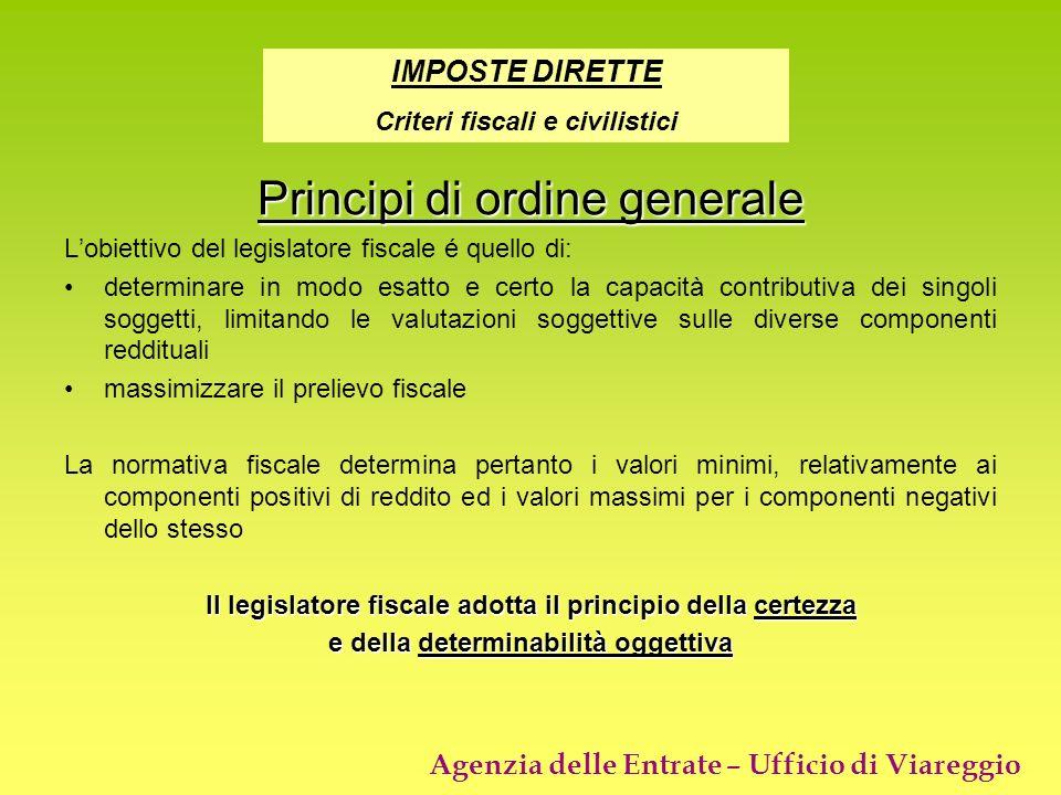 Agenzia delle Entrate – Ufficio di Viareggio Principi di ordine generale Lobiettivo del legislatore fiscale é quello di: determinare in modo esatto e