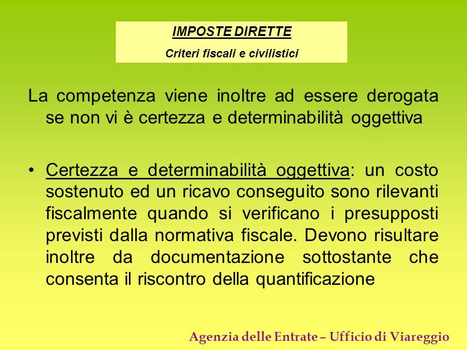 Agenzia delle Entrate – Ufficio di Viareggio La competenza viene inoltre ad essere derogata se non vi è certezza e determinabilità oggettiva Certezza