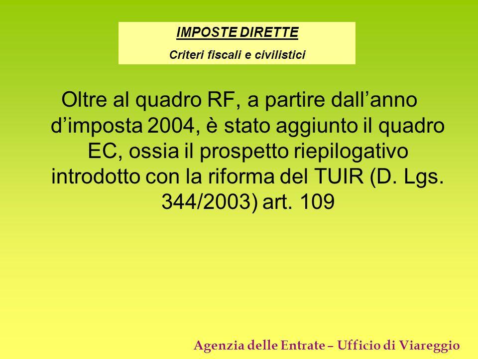 Agenzia delle Entrate – Ufficio di Viareggio Oltre al quadro RF, a partire dallanno dimposta 2004, è stato aggiunto il quadro EC, ossia il prospetto r