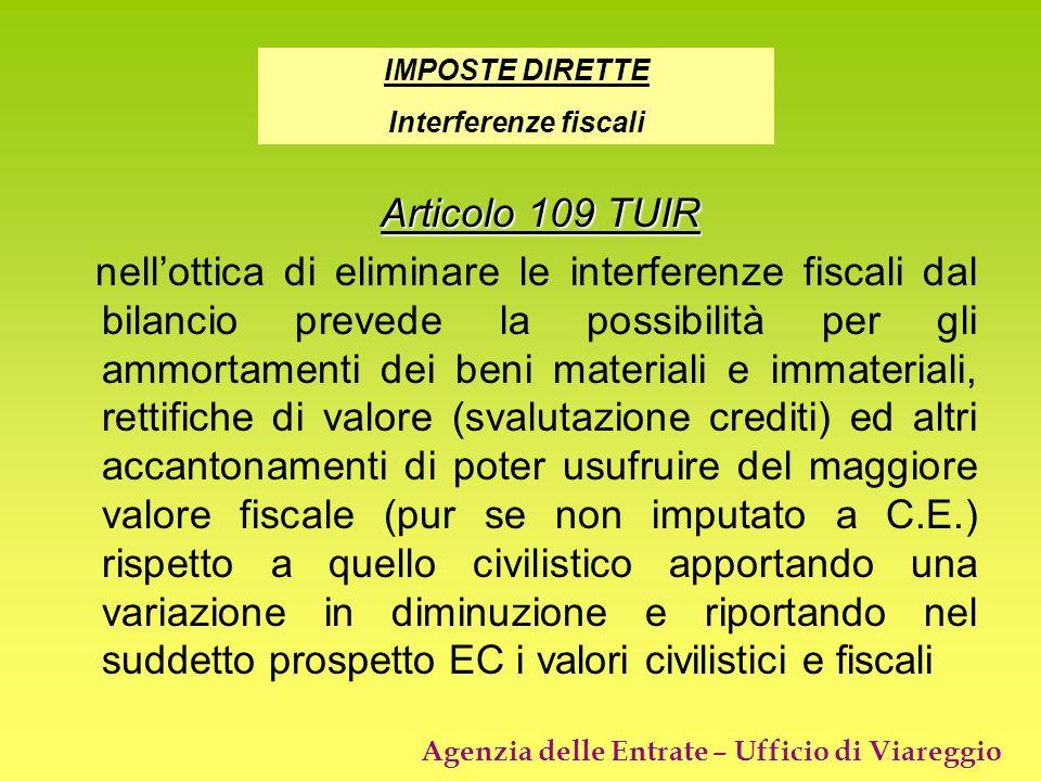 Agenzia delle Entrate – Ufficio di Viareggio Articolo 109 TUIR nellottica di eliminare le interferenze fiscali dal bilancio prevede la possibilità per