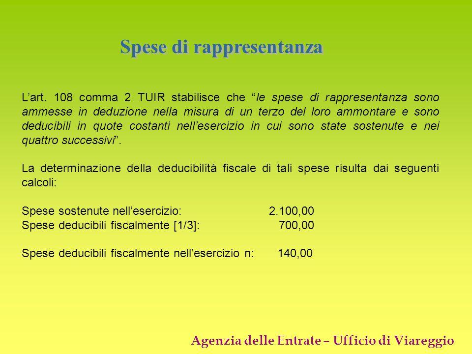 Agenzia delle Entrate – Ufficio di Viareggio Lart. 108 comma 2 TUIR stabilisce che le spese di rappresentanza sono ammesse in deduzione nella misura d