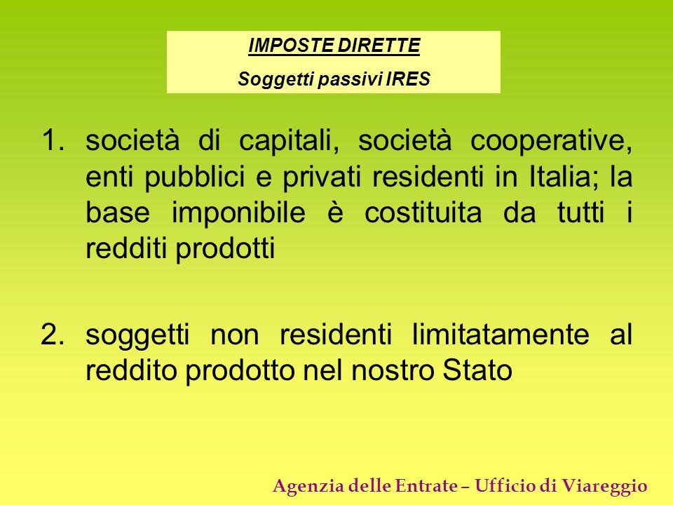 Agenzia delle Entrate – Ufficio di Viareggio 1.società di capitali, società cooperative, enti pubblici e privati residenti in Italia; la base imponibi
