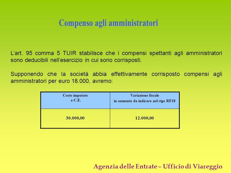 Agenzia delle Entrate – Ufficio di Viareggio Lart. 95 comma 5 TUIR stabilisce che i compensi spettanti agli amministratori sono deducibili nelleserciz