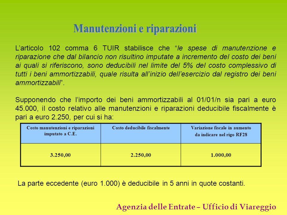 Agenzia delle Entrate – Ufficio di Viareggio Larticolo 102 comma 6 TUIR stabilisce che le spese di manutenzione e riparazione che dal bilancio non ris