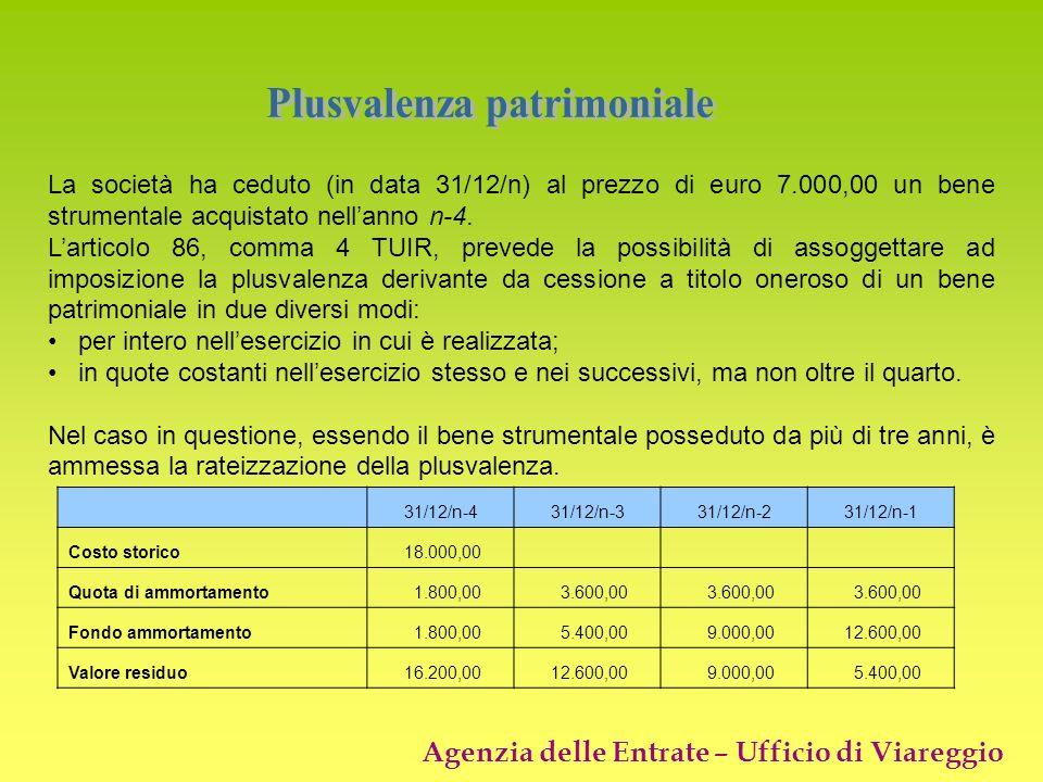 Agenzia delle Entrate – Ufficio di Viareggio La società ha ceduto (in data 31/12/n) al prezzo di euro 7.000,00 un bene strumentale acquistato nellanno