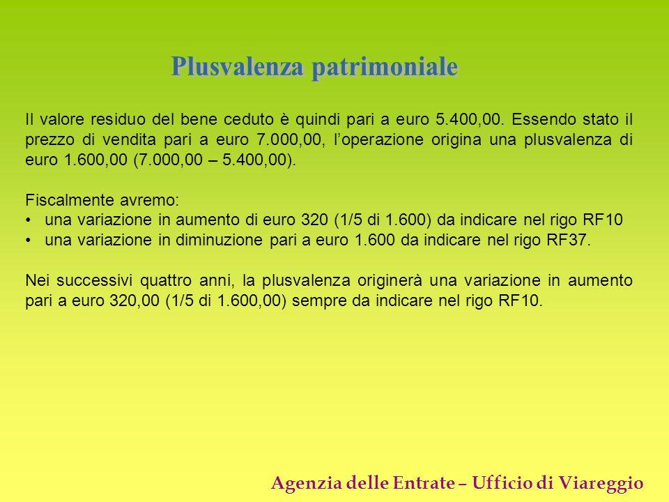 Agenzia delle Entrate – Ufficio di Viareggio Il valore residuo del bene ceduto è quindi pari a euro 5.400,00. Essendo stato il prezzo di vendita pari