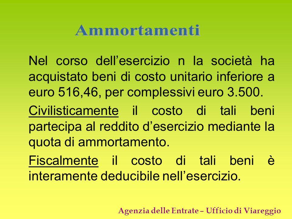 Agenzia delle Entrate – Ufficio di Viareggio Nel corso dellesercizio n la società ha acquistato beni di costo unitario inferiore a euro 516,46, per co