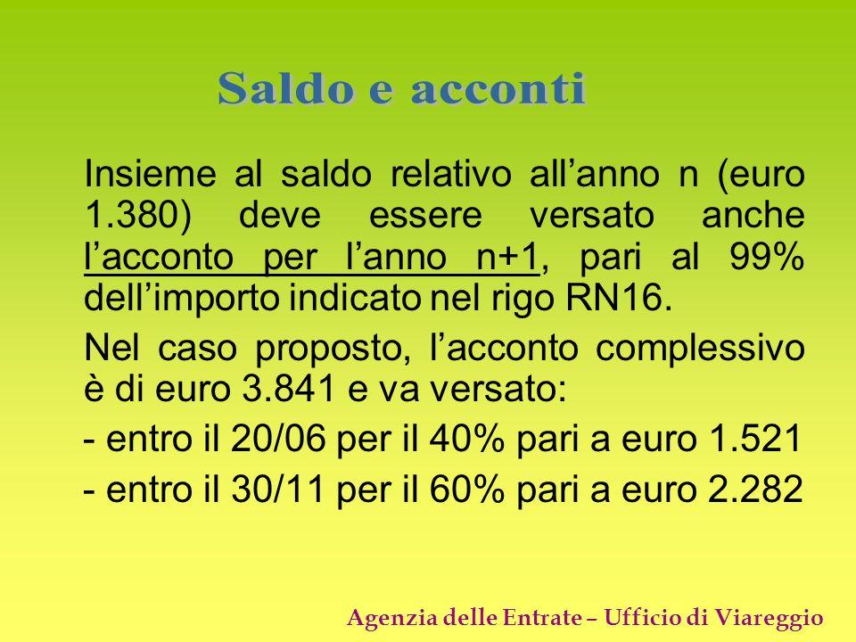 Agenzia delle Entrate – Ufficio di Viareggio Insieme al saldo relativo allanno n (euro 1.380) deve essere versato anche lacconto per lanno n+1, pari a