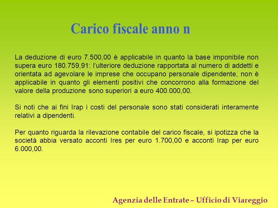 Agenzia delle Entrate – Ufficio di Viareggio La deduzione di euro 7.500,00 è applicabile in quanto la base imponibile non supera euro 180.759,91: lult