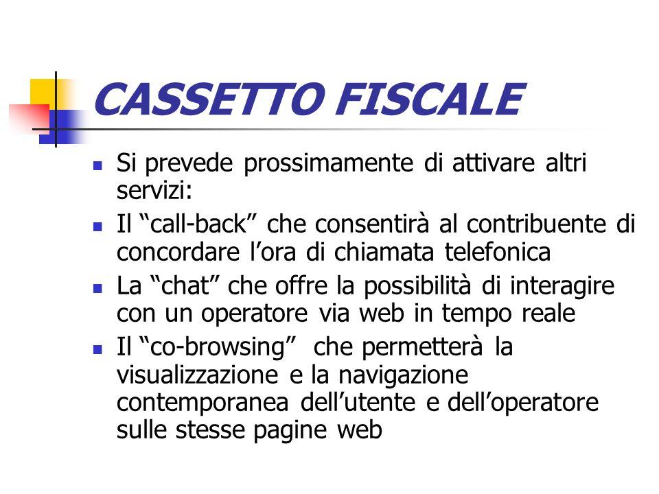CASSETTO FISCALE Si prevede prossimamente di attivare altri servizi: Il call-back che consentirà al contribuente di concordare lora di chiamata telefo