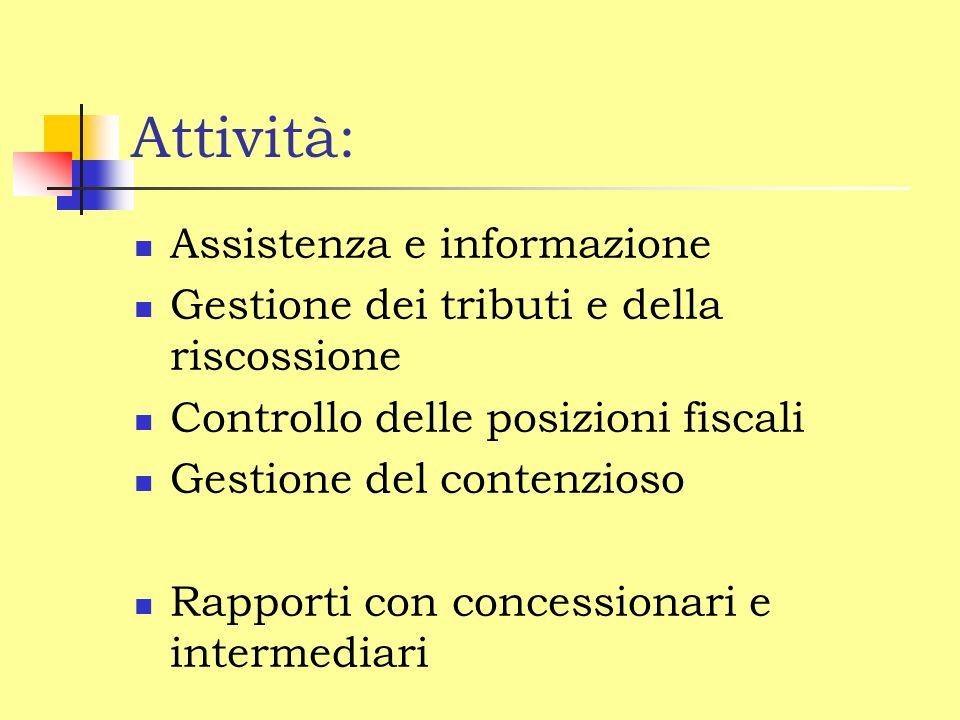 Attività: Assistenza e informazione Gestione dei tributi e della riscossione Controllo delle posizioni fiscali Gestione del contenzioso Rapporti con concessionari e intermediari