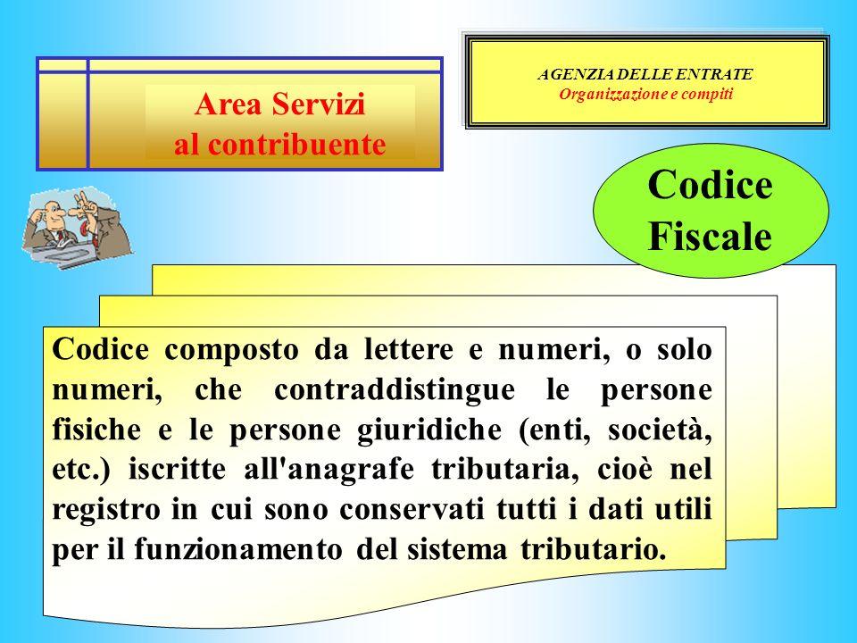 AGENZIA DELLE ENTRATE Organizzazione e compiti Area Servizi al contribuente Codice composto da lettere e numeri, o solo numeri, che contraddistingue l