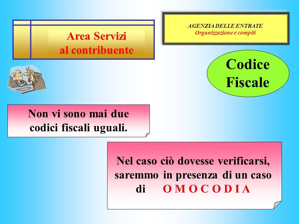 AGENZIA DELLE ENTRATE Organizzazione e compiti Area Servizi al contribuente Codice Fiscale Non vi sono mai due codici fiscali uguali. Nel caso ciò dov