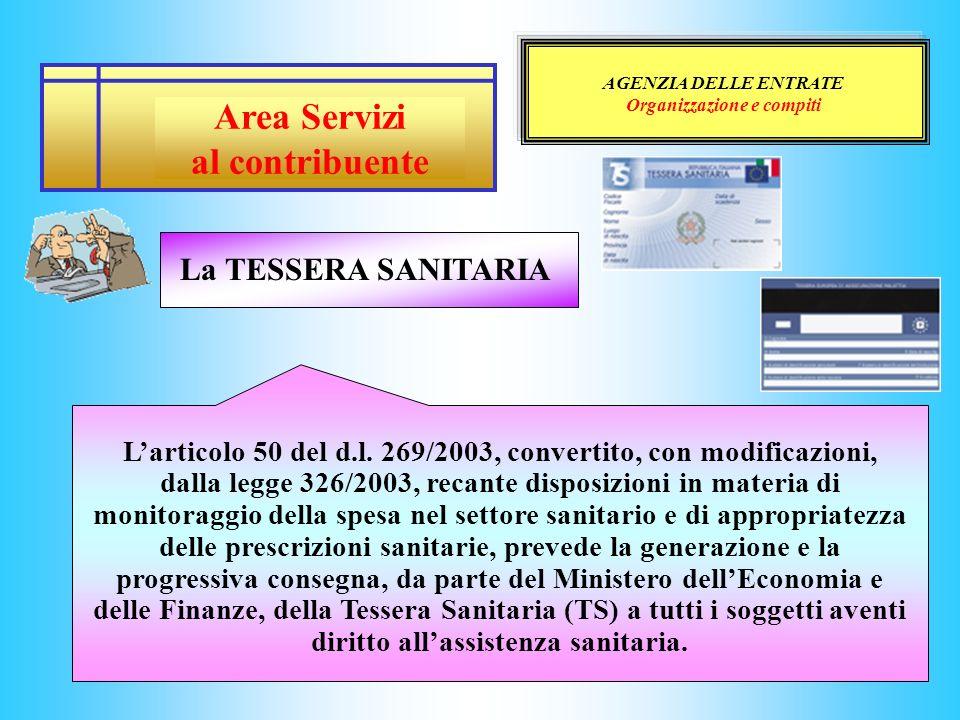AGENZIA DELLE ENTRATE Organizzazione e compiti Larticolo 50 del d.l. 269/2003, convertito, con modificazioni, dalla legge 326/2003, recante disposizio
