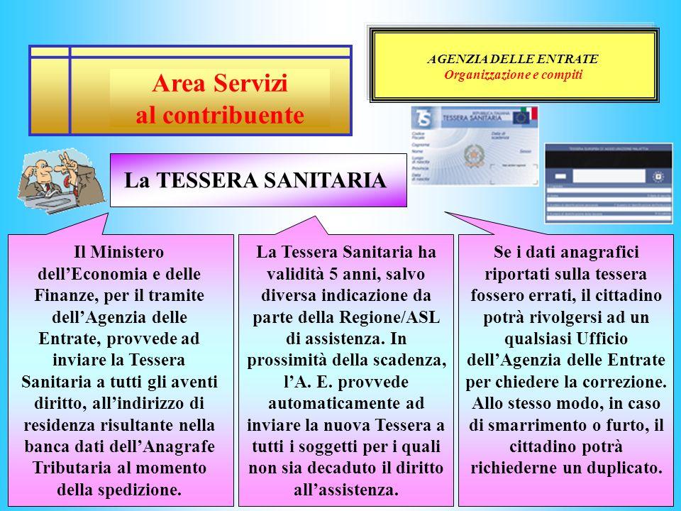 AGENZIA DELLE ENTRATE Organizzazione e compiti Il Ministero dellEconomia e delle Finanze, per il tramite dellAgenzia delle Entrate, provvede ad inviar
