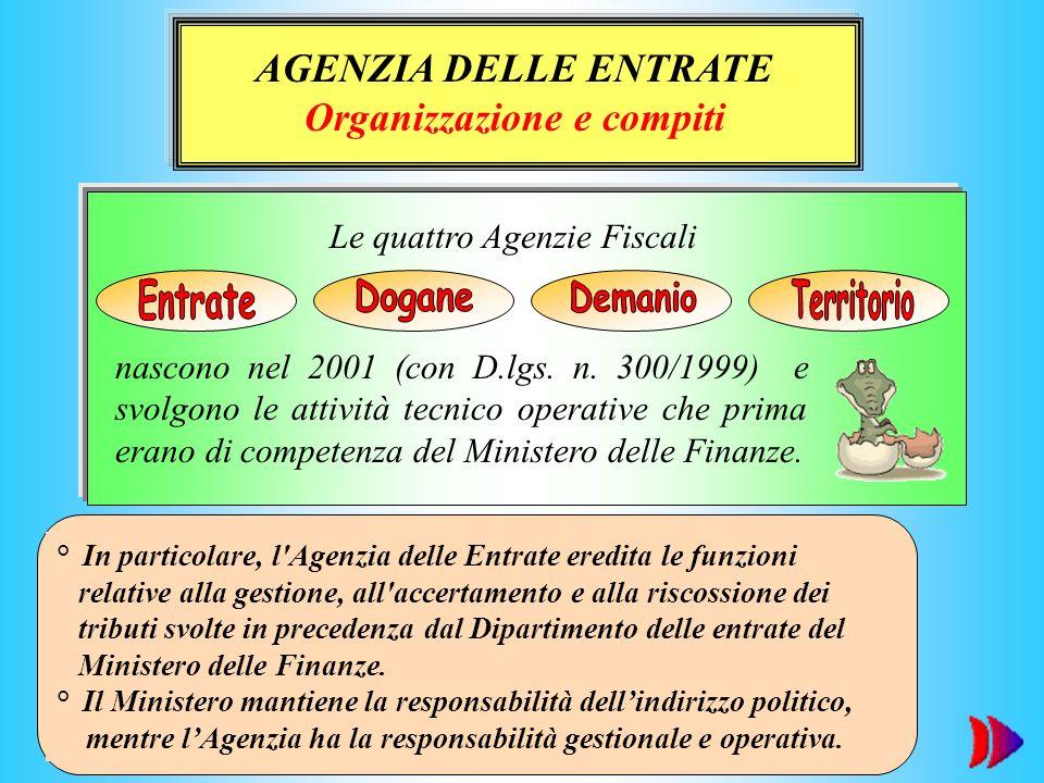 ° In particolare, l'Agenzia delle Entrate eredita le funzioni relative alla gestione, all'accertamento e alla riscossione dei tributi svolte in preced