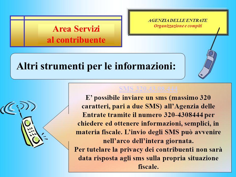 AGENZIA DELLE ENTRATE Organizzazione e compiti Altri strumenti per le informazioni: SMS 320.43.08.444 SMS 320.43.08.444 E possibile inviare un sms (ma