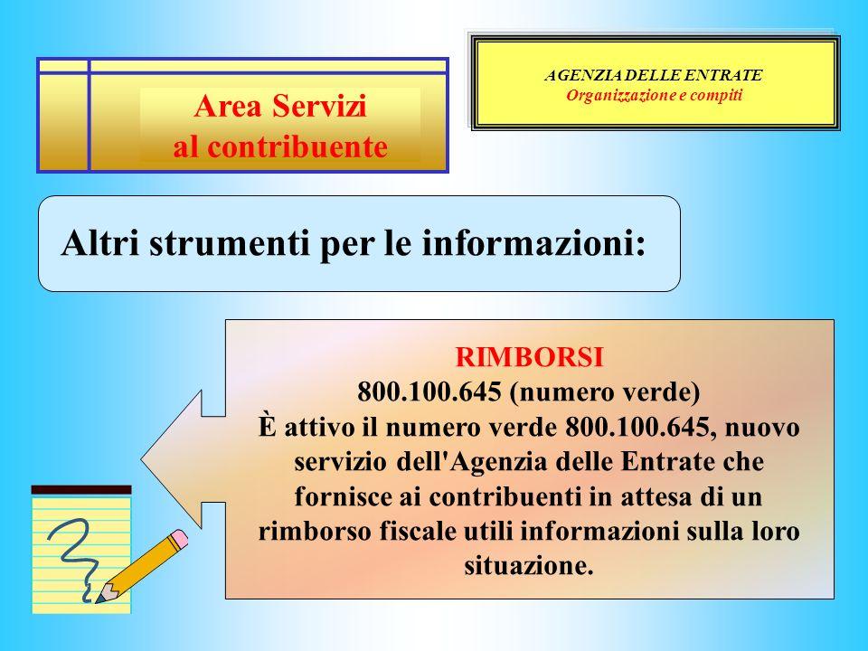 AGENZIA DELLE ENTRATE Organizzazione e compiti Altri strumenti per le informazioni: RIMBORSI 800.100.645 (numero verde) È attivo il numero verde 800.1