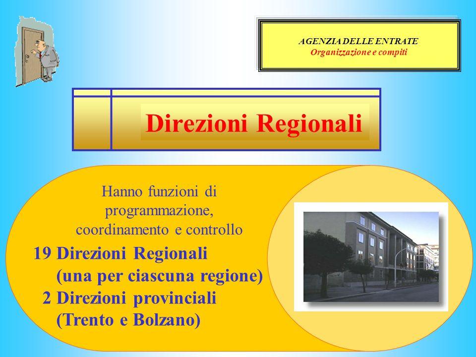 AGENZIA DELLE ENTRATE Organizzazione e compiti Direzioni Regionali Hanno funzioni di programmazione, coordinamento e controllo 19 Direzioni Regionali