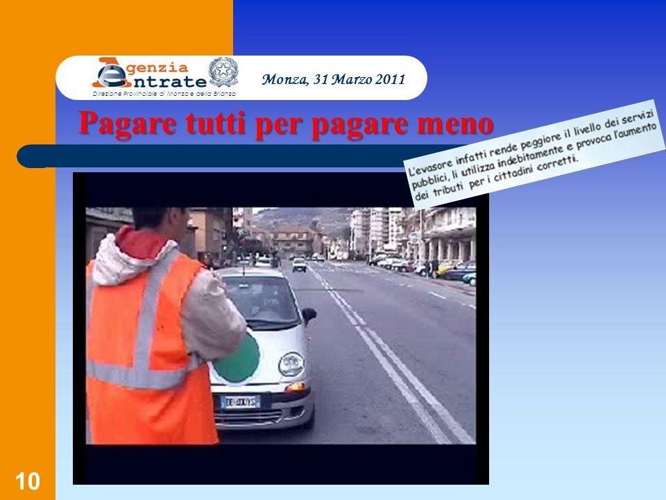 10 Monza, 31 Marzo 2011 Direzione Provinciale di Monza e della Brianza Pagare tutti per pagare meno