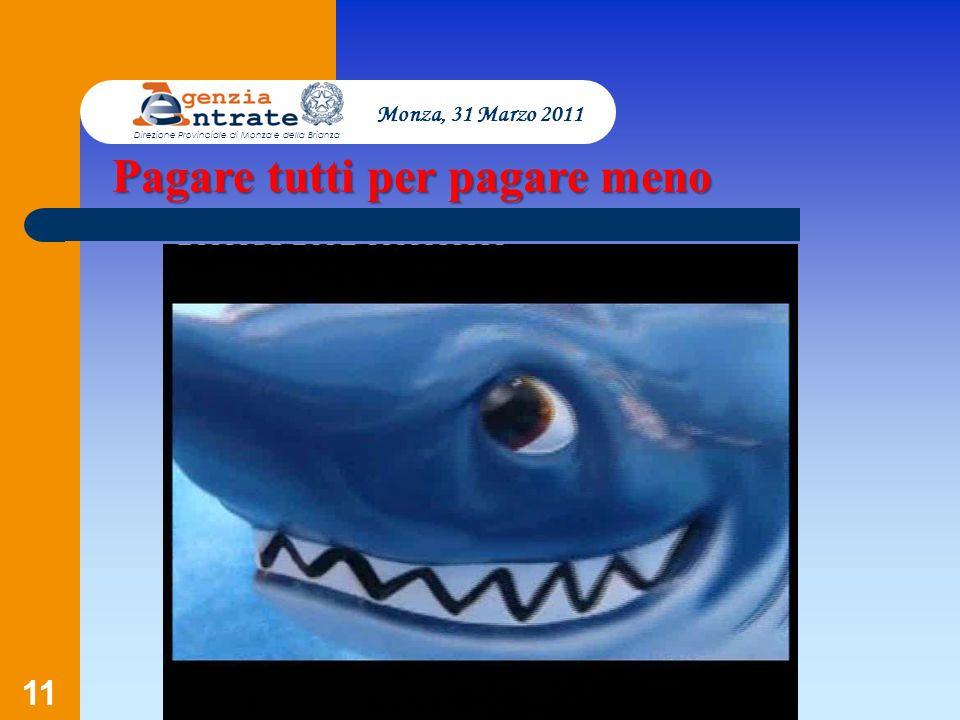 11 Pagare tutti per pagare meno Monza, 31 Marzo 2011 Direzione Provinciale di Monza e della Brianza