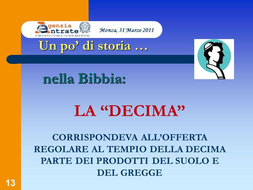 13 Un po di storia … LA DECIMA CORRISPONDEVA ALLOFFERTA REGOLARE AL TEMPIO DELLA DECIMA PARTE DEI PRODOTTI DEL SUOLO E DEL GREGGE nella Bibbia: Monza,