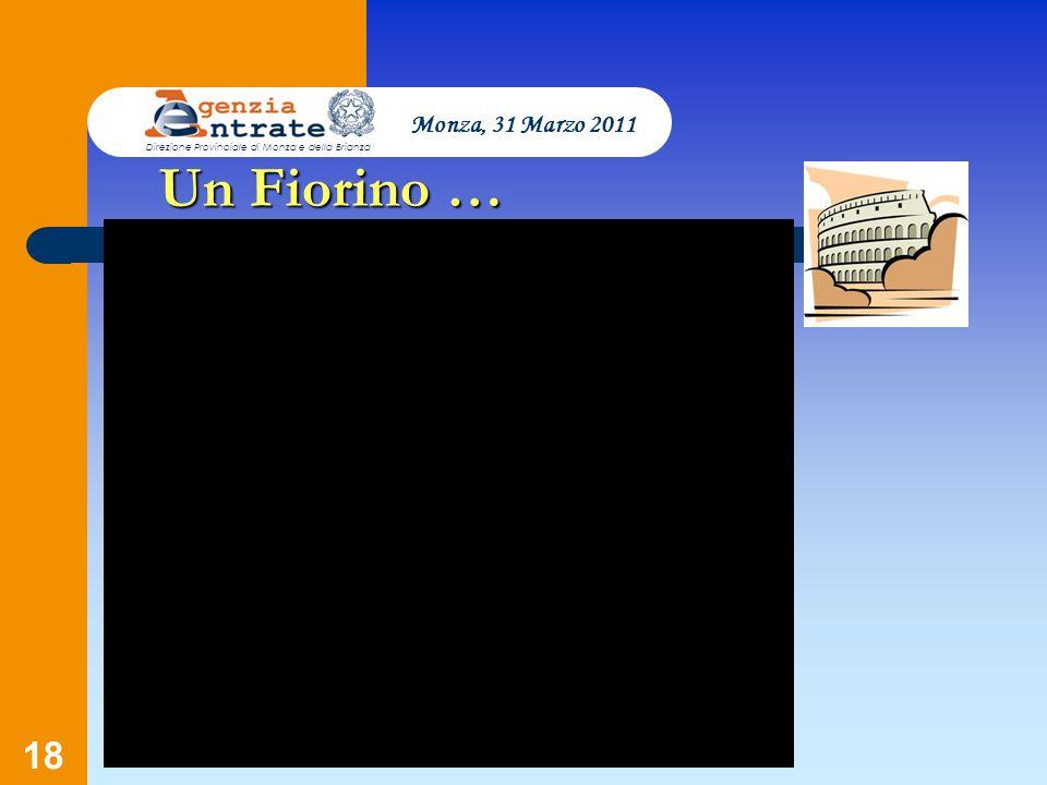 18 Un Fiorino … Monza, 31 Marzo 2011 Direzione Provinciale di Monza e della Brianza