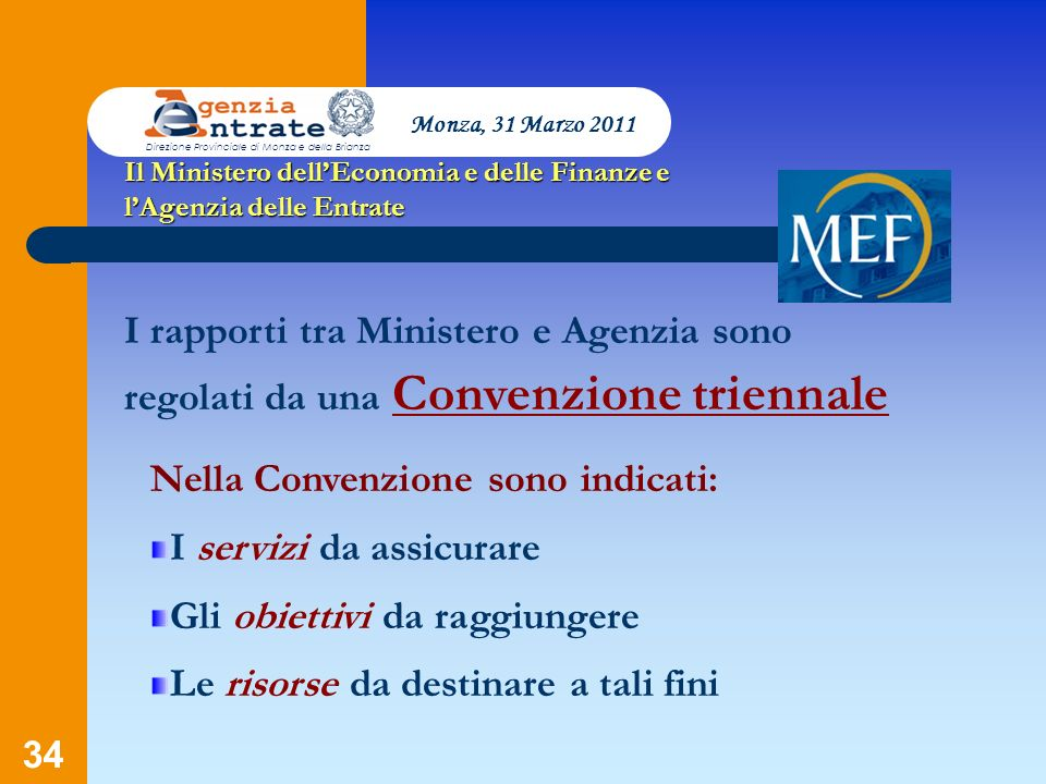 34 Il Ministero dellEconomia e delle Finanze e lAgenzia delle Entrate I rapporti tra Ministero e Agenzia sono regolati da una Convenzione triennale Ne