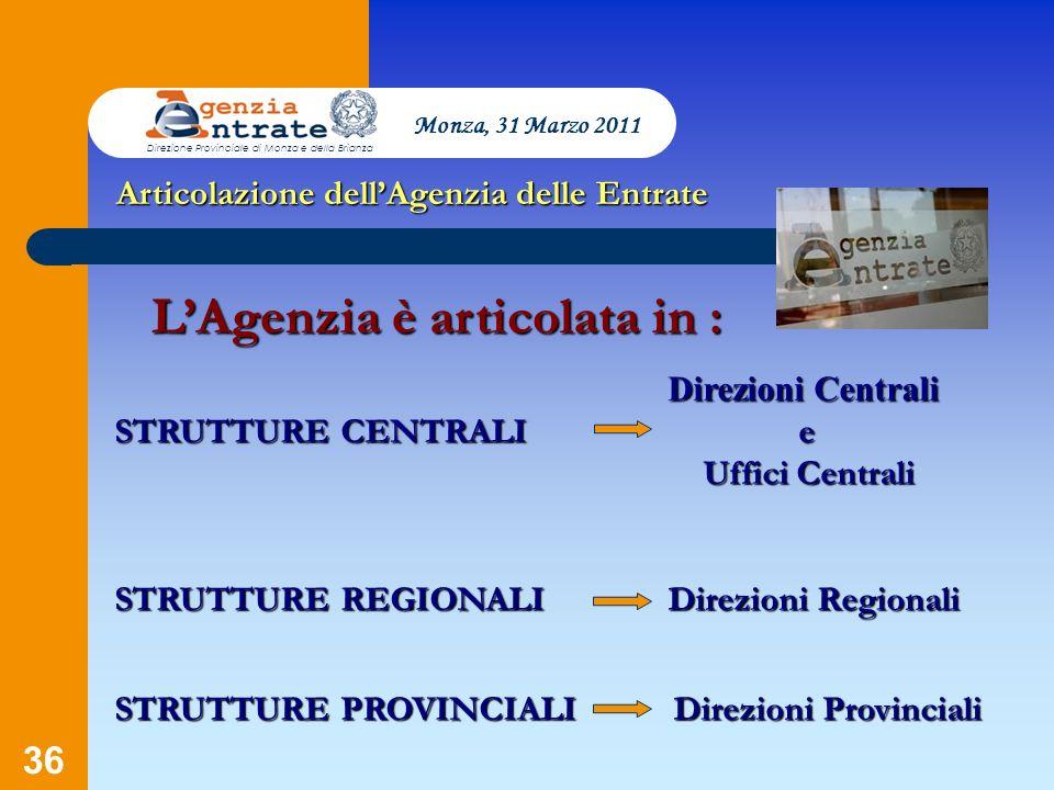 36 Direzioni Centrali Direzioni Centrali STRUTTURE CENTRALI e Uffici Centrali Uffici Centrali STRUTTURE REGIONALI Direzioni Regionali STRUTTURE PROVIN
