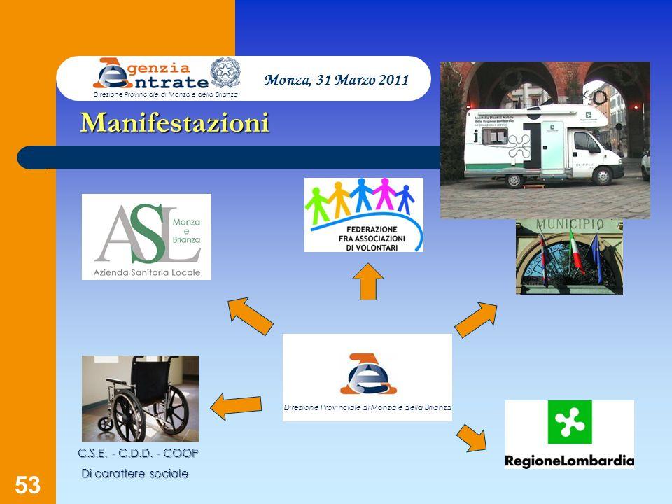 53 Presentazione a cura di Salvatore Pagano Monza, 31 Marzo 2011 Direzione Provinciale di Monza e della Brianza Direzione Provinciale di Monza e della