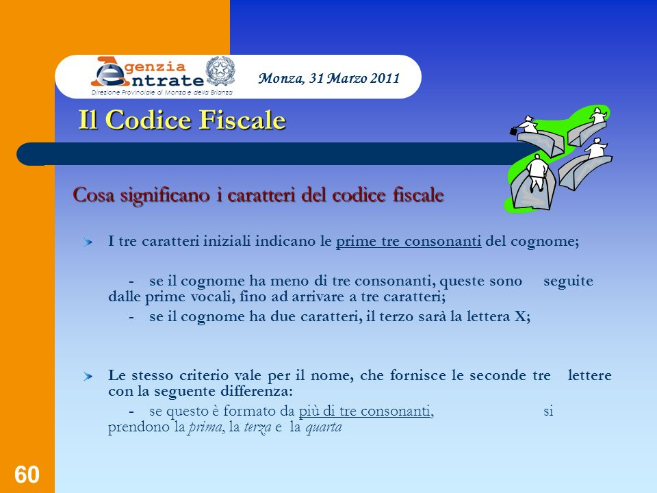 60 Presentazione a cura di Salvatore Pagano Il Codice Fiscale Cosa significano i caratteri del codice fiscale I tre caratteri iniziali indicano le pri