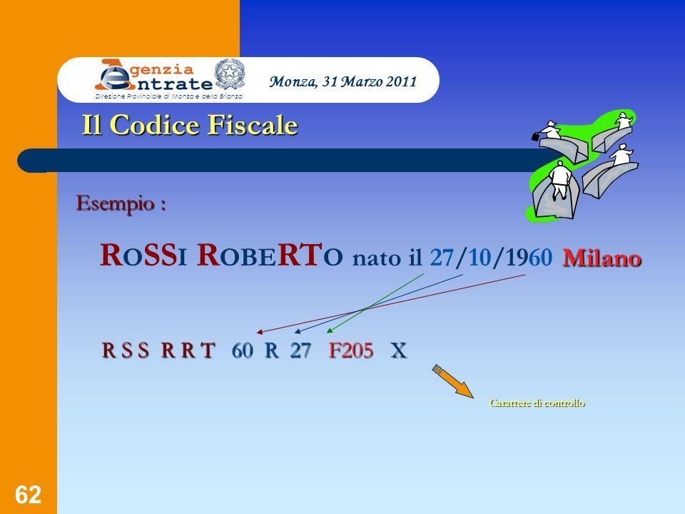 62 Presentazione a cura di Salvatore Pagano Il Codice Fiscale Esempio : Milano R O SS I R OBE RT O nato il 27/10/1960 Milano R S S R R T60 R 27 27 F20