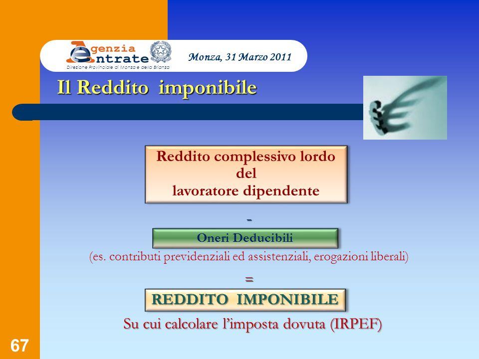 67 Presentazione a cura di Salvatore Pagano Il Reddito imponibile - (es. contributi previdenziali ed assistenziali, erogazioni liberali) Monza, 31 Mar