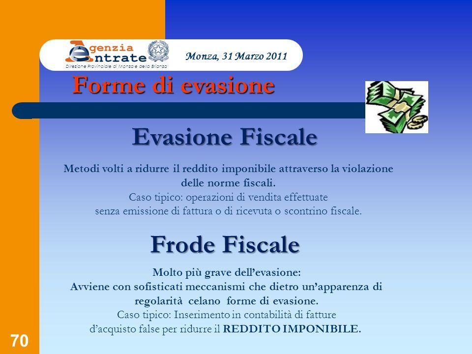 70 Evasione Fiscale Monza, 31 Marzo 2011 Direzione Provinciale di Monza e della Brianza Metodi volti a ridurre il reddito imponibile attraverso la vio