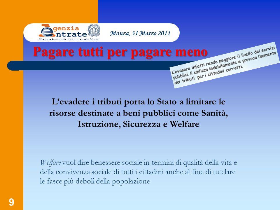 9 Monza, 31 Marzo 2011 Direzione Provinciale di Monza e della Brianza Levadere i tributi porta lo Stato a limitare le risorse destinate a beni pubblic