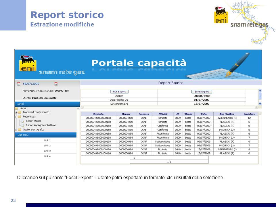 23 Cliccando sul pulsante Excel Export lutente potrà esportare in formato.xls i risultati della selezione.