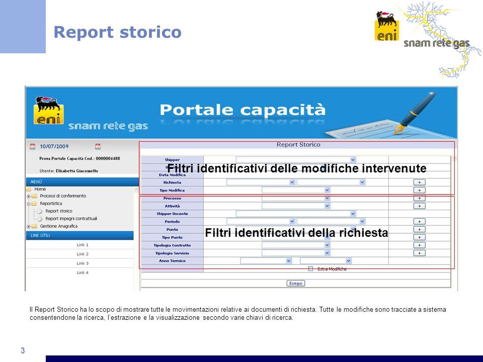 3 Il Report Storico ha lo scopo di mostrare tutte le movimentazioni relative ai documenti di richiesta.