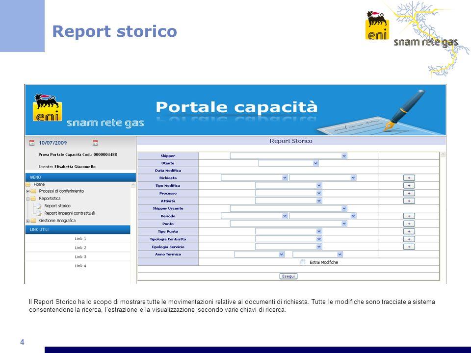 4 Il Report Storico ha lo scopo di mostrare tutte le movimentazioni relative ai documenti di richiesta.