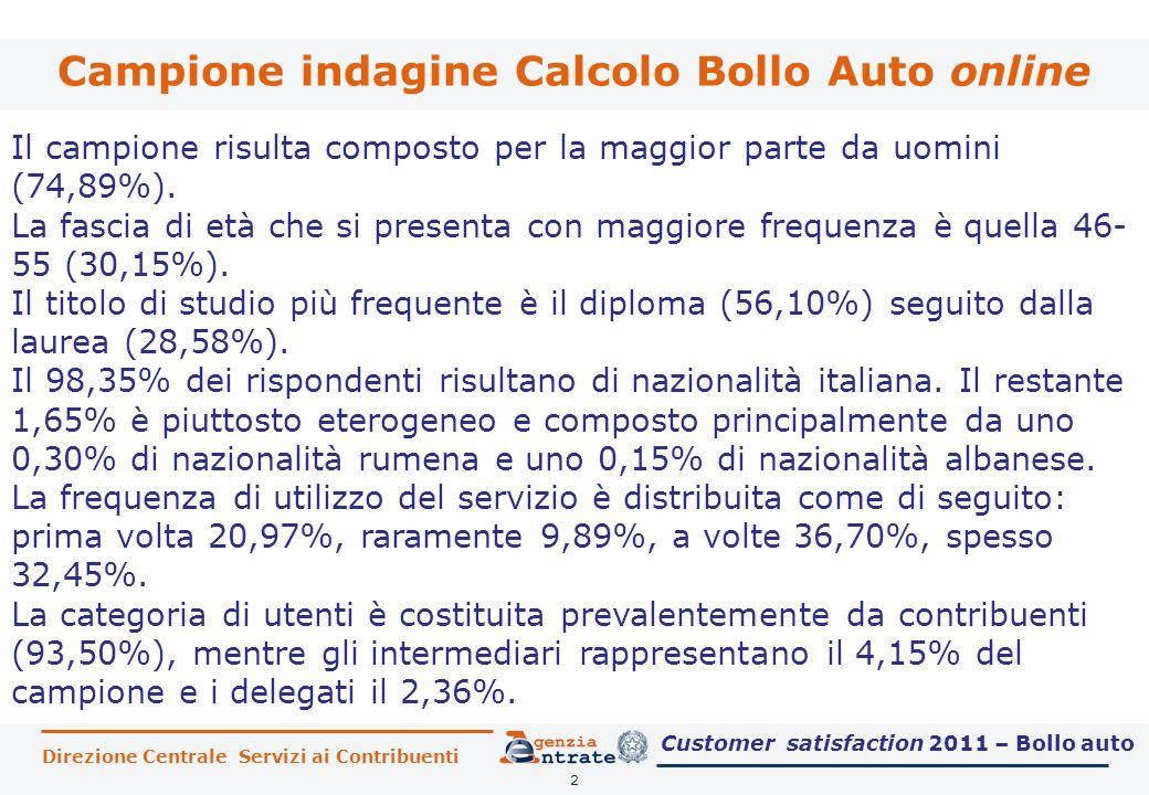 Direzione Centrale Servizi ai Contribuenti Campione indagine Calcolo Bollo Auto online 2 Il campione risulta composto per la maggior parte da uomini (74,89%).