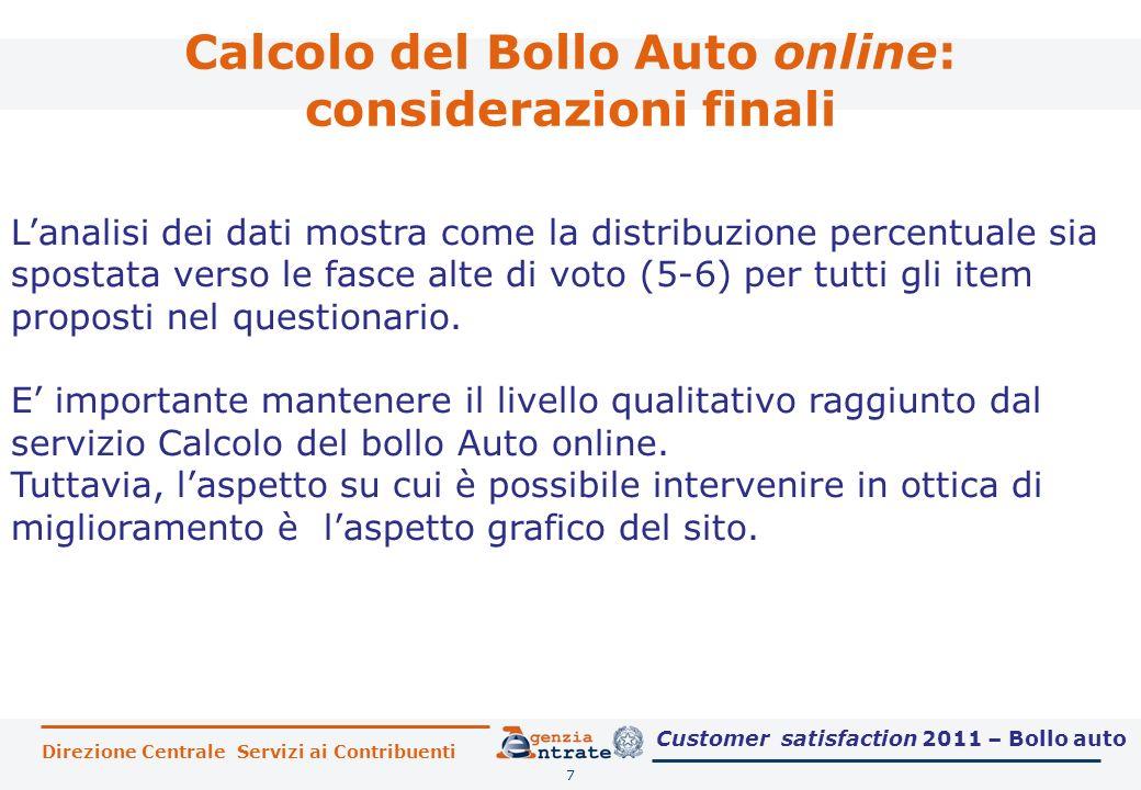 Calcolo del Bollo Auto online: considerazioni finali 7 Lanalisi dei dati mostra come la distribuzione percentuale sia spostata verso le fasce alte di voto (5-6) per tutti gli item proposti nel questionario.